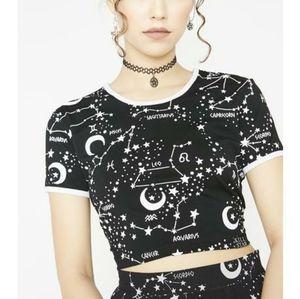 Astrology Horoscope Crop Top Black & White
